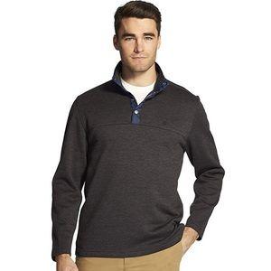Izod Mens Button Mock Neck Fleece Pullover XL EUC